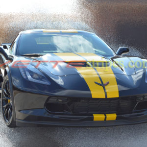 Black C7 Z06 with yellow GM full length dual racing stripes