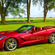 Crystal red C7 Corvette Stingray convertible with metallic copper side stripe 3 graphic