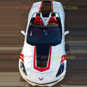 White C7 Corvette Stingray convertible with GT1 center stripes