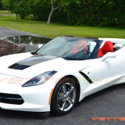 C7 Corvette Stingray white with carbon flash stinger stripe 1