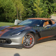 Shark grey C7 Corvette Z06 convertible with metallic copper GM full length racing stripe 2