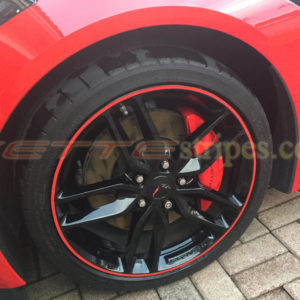 C7 Corvette wheel with red pinstripe