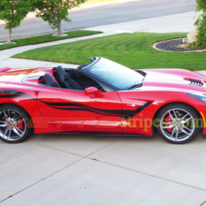 Torch red C7 corvette Stingray convertible with carbon flash side stripe graphic decals