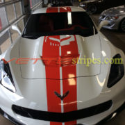2016 white C7 Corvette Z06 with red GM full racing stripes and optional jake