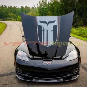 Black C6 Z06 with GT5 SEMA dark charcoal stripes