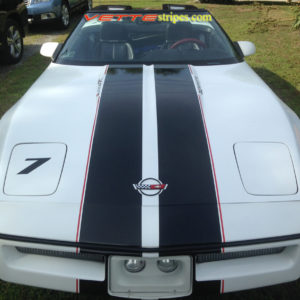 C4 Corvette with black and red full body racing stripe