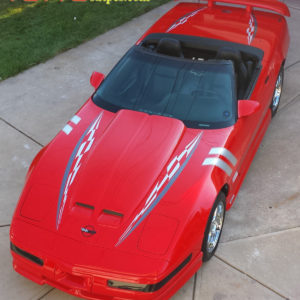 C4 corvette silver and gunmetal super hood spear stripe