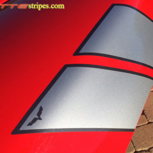 C6 Corvette Grand Sport fender hash marks stripe in silver and dark charcoal