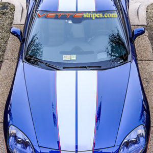 Lemans Blue C6 Corvette with metallic gunmetal and red full length racing stripe 3