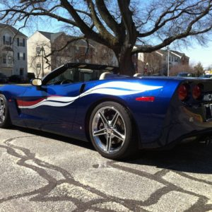 Lemans blue C6 Corvette with silver and crystal red side stripe graphic decals