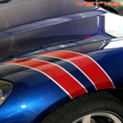 C6 Corvette Lemans blue with red and silver fender hash marks stripe 1