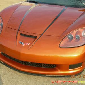 C6 Corvette Z06 Grand Sport black hood spear stripe with optional custom text