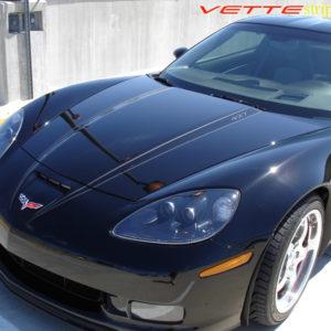C6 Corvette Z06 Grand Sport matte black hood spear stripe