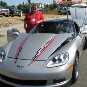 Silver C6 Corvette super hood stripe in black and red