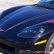 C6 Corvette black with metallic silver hood stripe 3 1