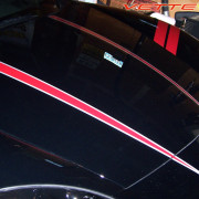 C6 Corvette black with red and silver hood stripe 4  1
