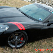 C6 Corvette black with red fender hash marks stripe 3