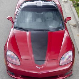 Crystal red C6 Corvette with metallic black MA stripe