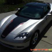 C6 Corvette machine silver 427 edition stripe in black and red