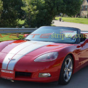 C6 Corvette redwith metallic silver GM full body racing stripe 2