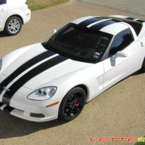 White C6 Corvette with black racing stripe 2