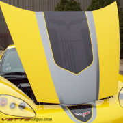C6 Corvette yellow with black and gunmetal GT1 stripe 5