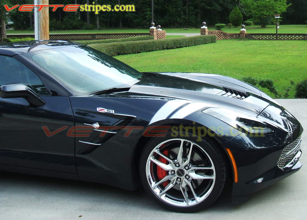 Matte Black C4 Corvette >> C7 Corvette Stingray, Grand Sport, and Z06 ME Fender Hash Mark Stripes - VetteStripes.com