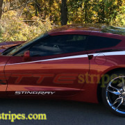 C7 Corvette Stingray crystal red with white side stripe 3 and Stingray door letter