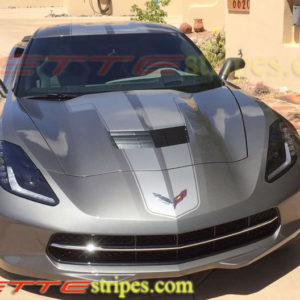 C7 Corvette Stingray shark gray with metallic pewter ME3 stinger stripe