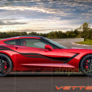 C7 Corvette Stingray torch red with matte black carbon flash side stripe