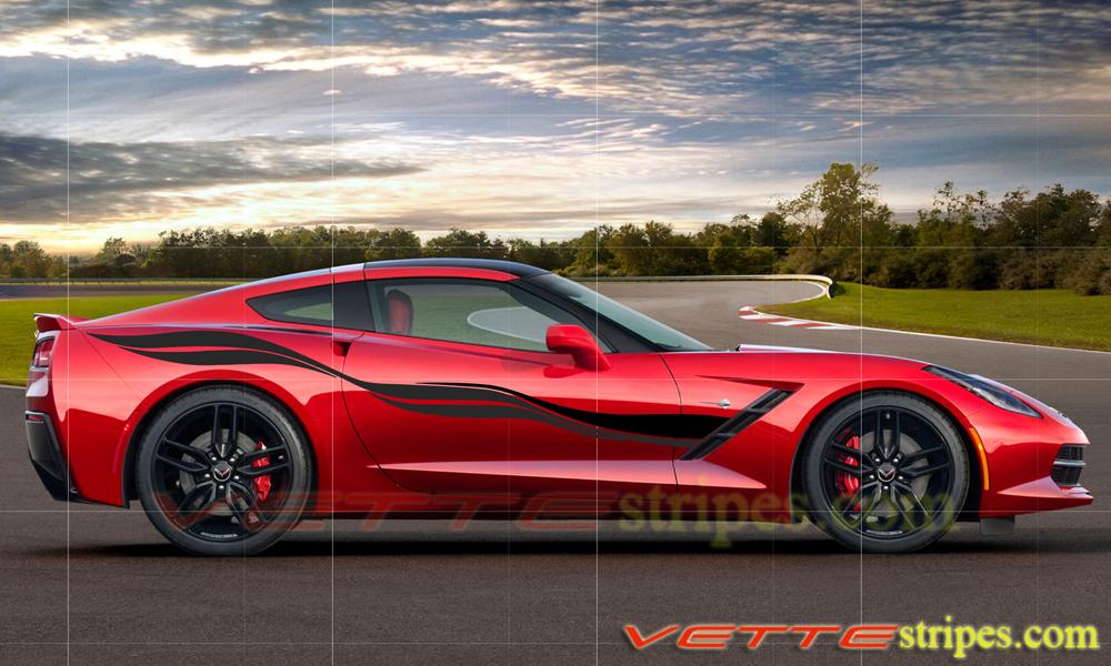 White Corvette Stingray >> C7 Corvette Stingray Side Stripes - VetteStripes.com
