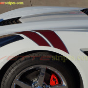 C7 Corvette Stingray white with crystal red and gunmetal fender hash mark stripe 5