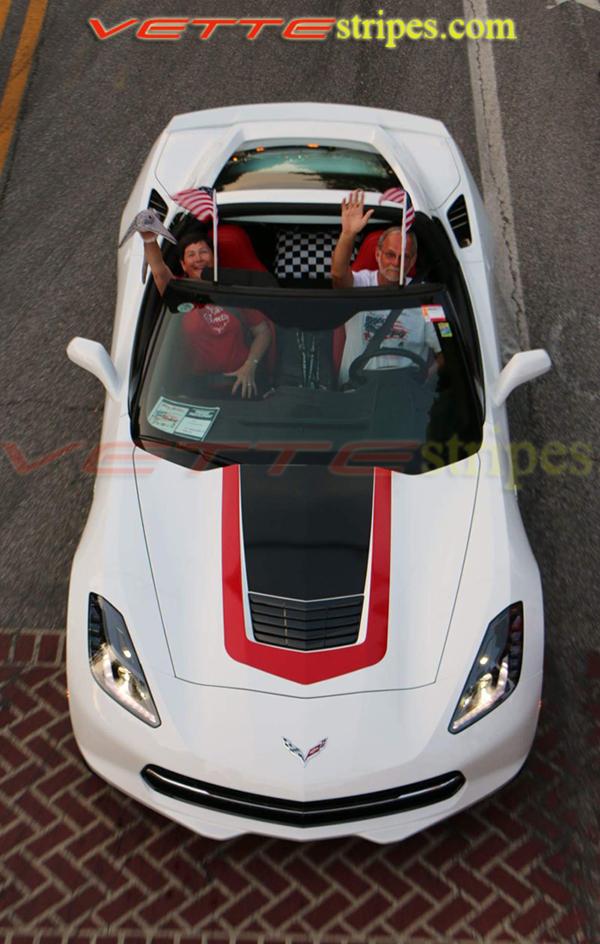 White Corvette Stingray >> C7 Stingray GT1 Outter Hood Stripe - VetteStripes.com