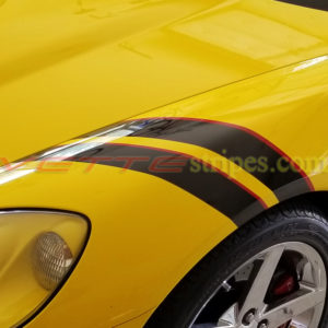 Yellow C6 with black and red fender hash marks stripe decal