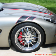 C5 Corvette GS RF fender hash mark stripe in black and red