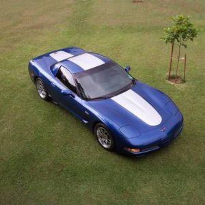 C5 Corvette Z06 electron blue with metallic silver ME1 stripe