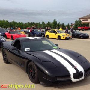 Black C5 Corvette with white full body racing stripe style 2