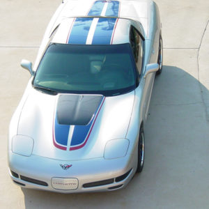 Silver C5 Corvette Z06 with grand blue and red MCM hood stripe