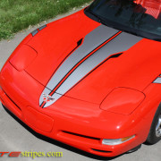 Torch Red C5 Corvette convertible with pewter and black SE3 racing rally stripe graphic
