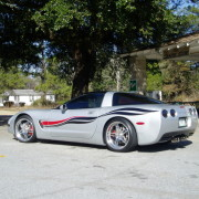 Silver C5 Corvette with black red side stripes graphic