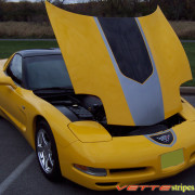 Yellow C5 Corvette with black and silver GT1 stripe and optional printed jake