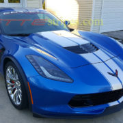Laguna blue C7 Corvette Z06 with blade silver GM full length racing stripe 2