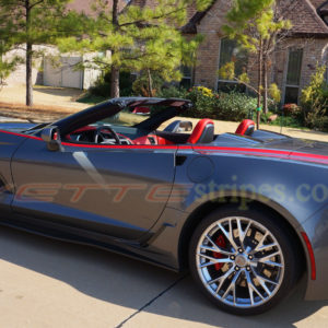 Shark gray C7 Corvette Z06 convertible with red side stripe 4