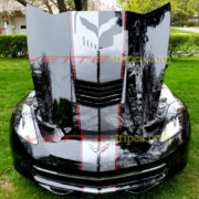 Black C7 Corvette Stingray with jake GM full racing stripe 2 and jake option