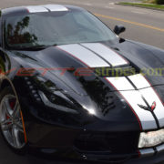 Black C7 Stingray coupe with silver GM full length racing and red pinstripes