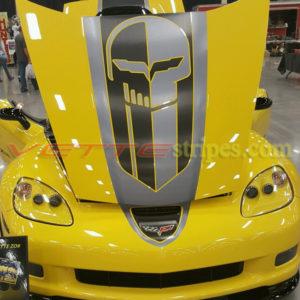 C6 Corvette GT4 stripes in brush steel and brush metallic black with optional jake skull