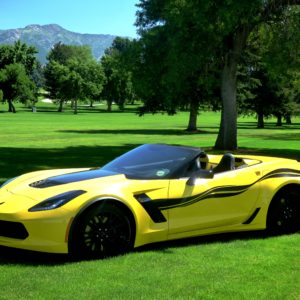 Yellow C7 Corvette Z06 with 3M 1080 carbon flash side stripe graphic