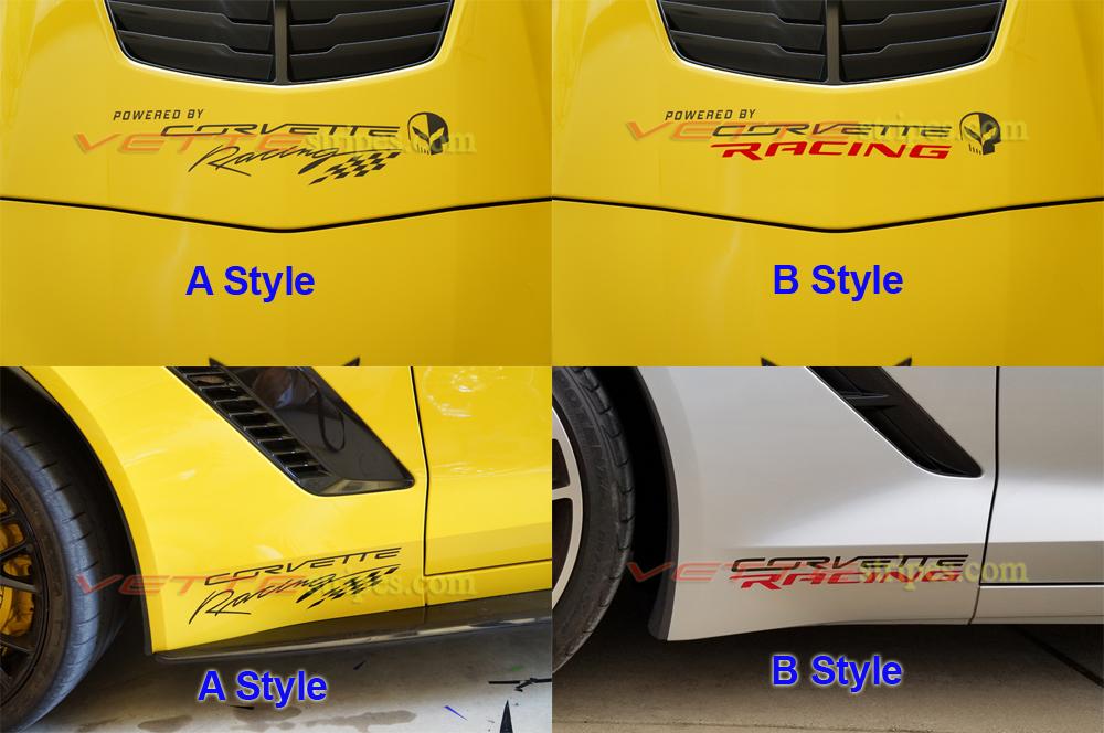 C4, C5, C6, C7 Corvette Racing decals - front quarter panels and hood