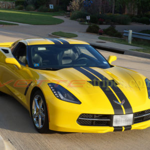 Yellow C7 Corvette stingray with matte black racing 3 stripes