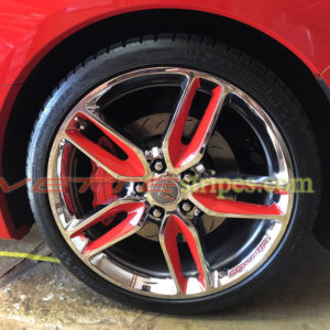 C7 Corvette Z51 wheel with red wheel graphic decals